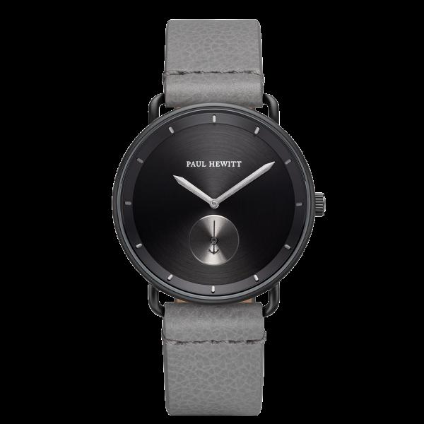 Watch Breakwater Black Sunray Black Gun Metal Leather Light Grey