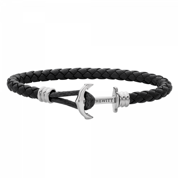 Anchor Bracelet Phrep Lite Silver Leather Black