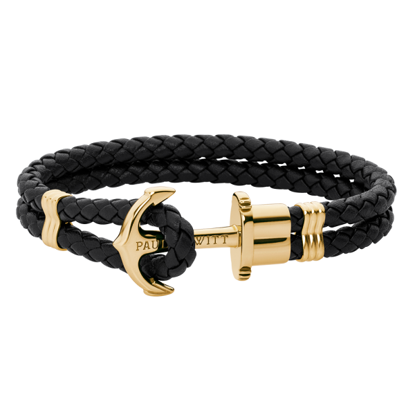 Anchor Bracelet Phrep Gold Leather Black