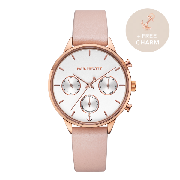 Montre Everpulse White Sand Or Rose Cuir Nude