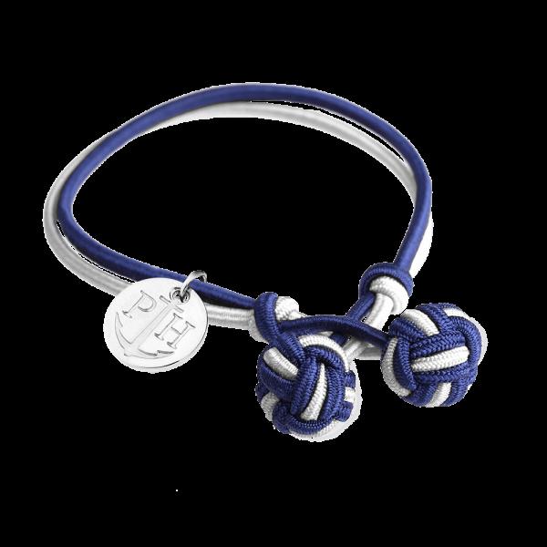 Knotenarmband Silber Nylon Marineblau-Weiß