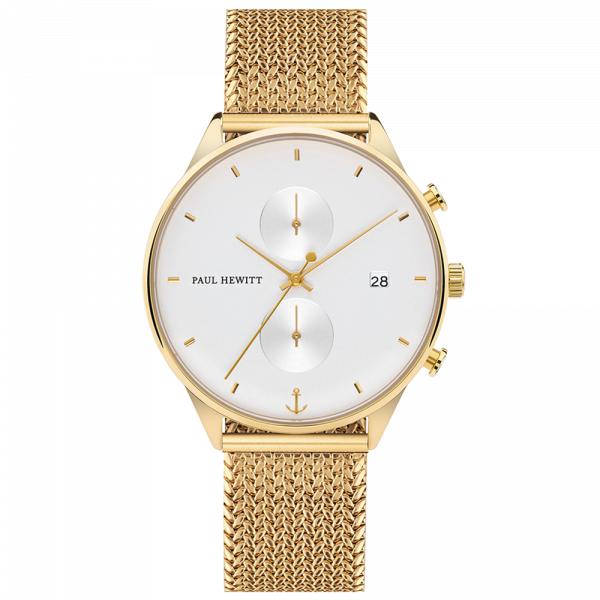 Watch Chrono White Sand Gold Woven Mesh