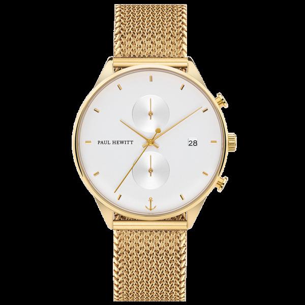 Uhr Chrono White Sand Gold Woven Mesh