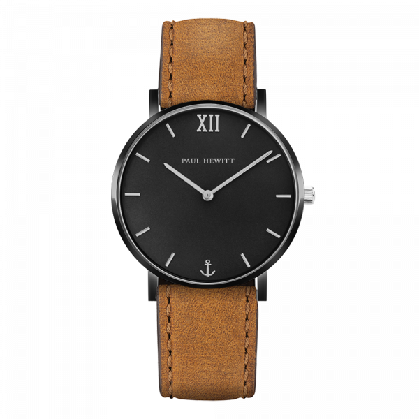 Montre Sailor Black Sunray Noir Argenté Cuir Mustard