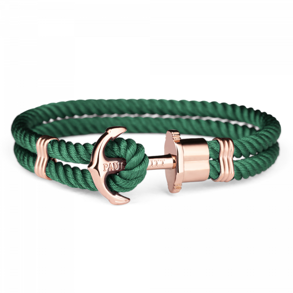 Anchor Bracelet Phrep Rose Gold Nylon Green
