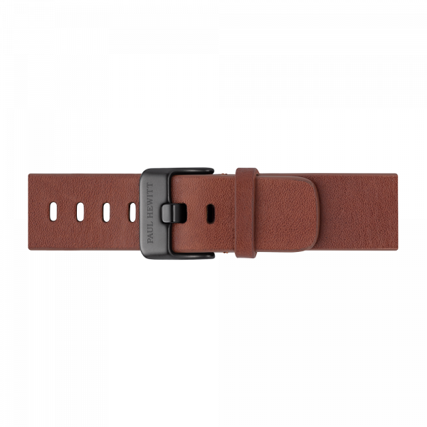 Watch Strap Leather Black Mid Brown 20 mm