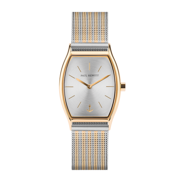 Watch Modern Edge Silver Sunray Gold Mesh Bicolor Gold Silver