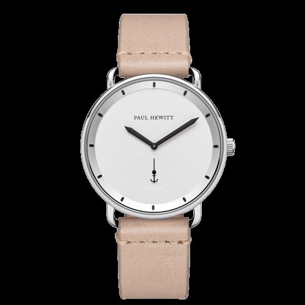 Uhr Breakwater White Sand Silber Leder Sandstone