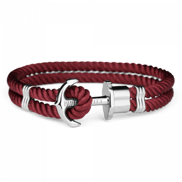 Anchor Bracelet Phrep Silver Nylon Dark Berry