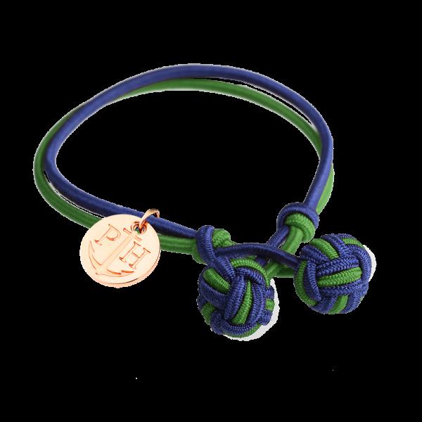 Bracelet Nœud Or Rose Nylon Bleu Marine Vert