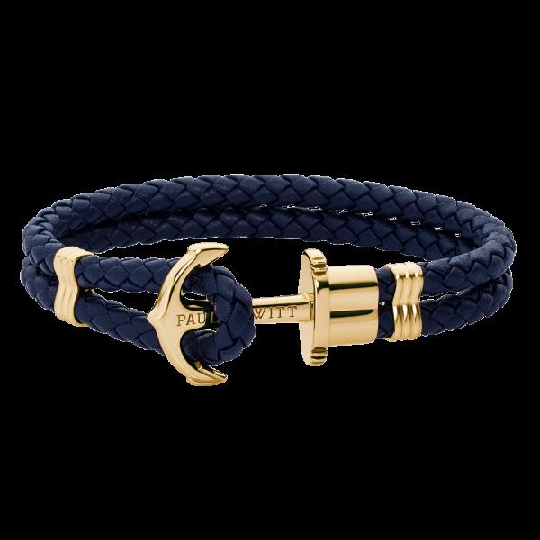 Bracelet Ancre Phrep Or Cuir Bleu Marine