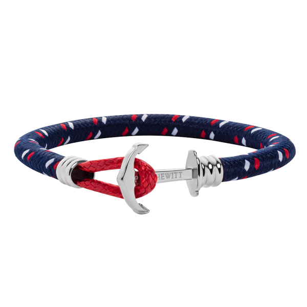 Anchor Bracelet Phrep Lite Silver Nylon Navy Blue Red White