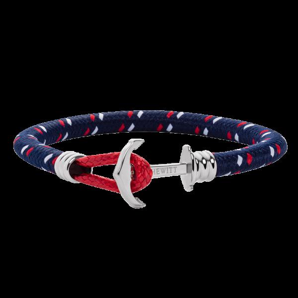Bracelet Ancre Phrep Lite Argenté Nylon Bleu Marine Rouge Blanc
