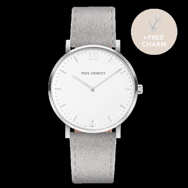 Uhr Sailor White Sand Silber Alcantara Grau