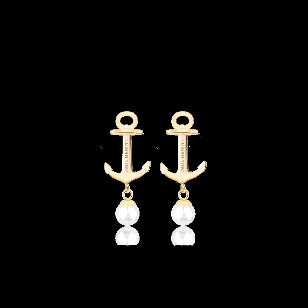 Boucles d'oreilles anchor pearl or pearl