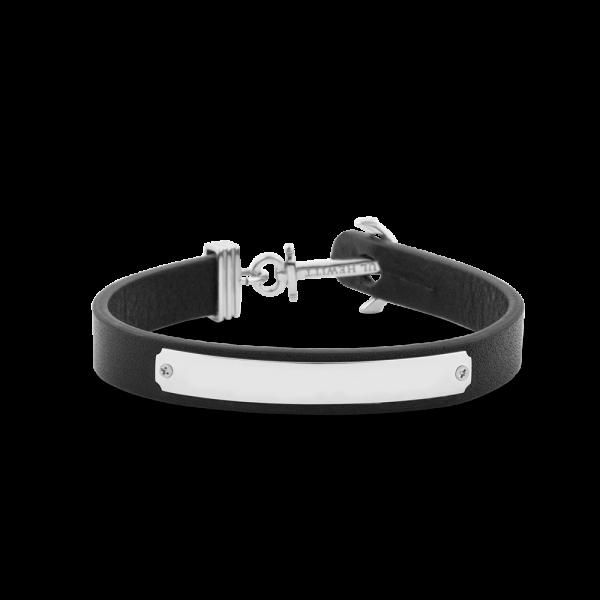 Bracelet Ancre Signum Argenté Cuir Noir