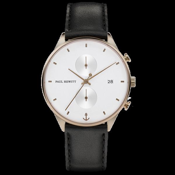 Reloj Chrono White Sand Bronce Piel Negro