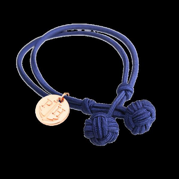 Knotenarmband Roségold Nylon Marineblau