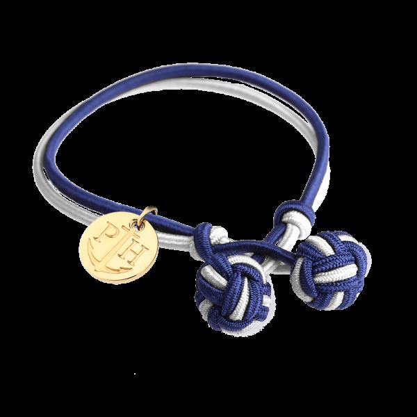 Knotbracelet Gold Nylon Navy Blue White