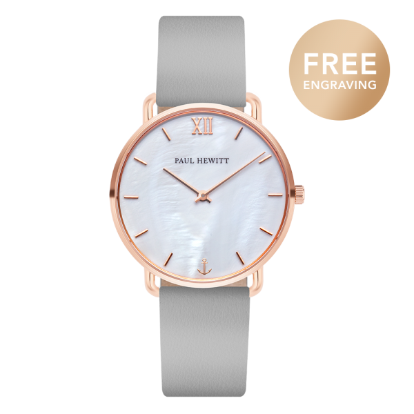 Montre Miss Ocean Pearl Or Rose Cuir Graphite