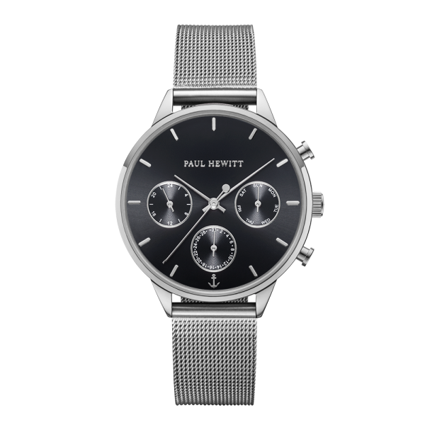 Reloj Everpulse Black Sunray Plateado Mesh