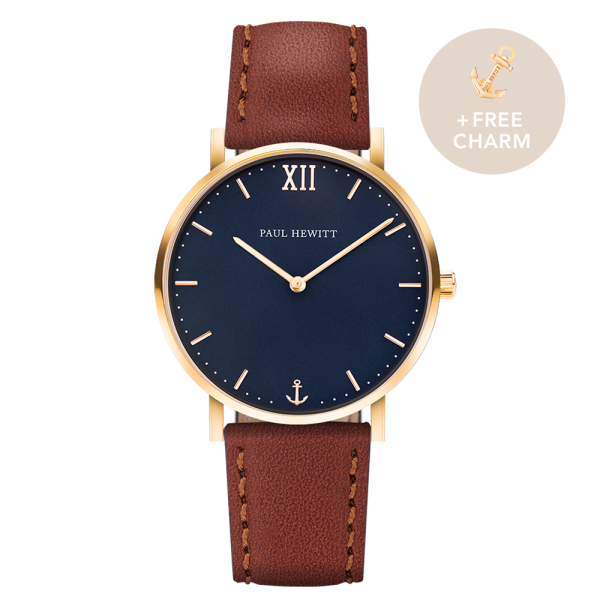 Uhr Sailor Blue Lagoon Gold Leder Braun