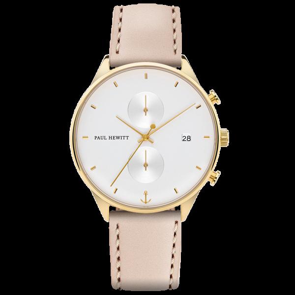 Uhr Chrono White Sand Gold Leder Hazelnut