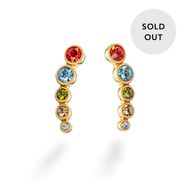 Earring Rainbow Stones Gold