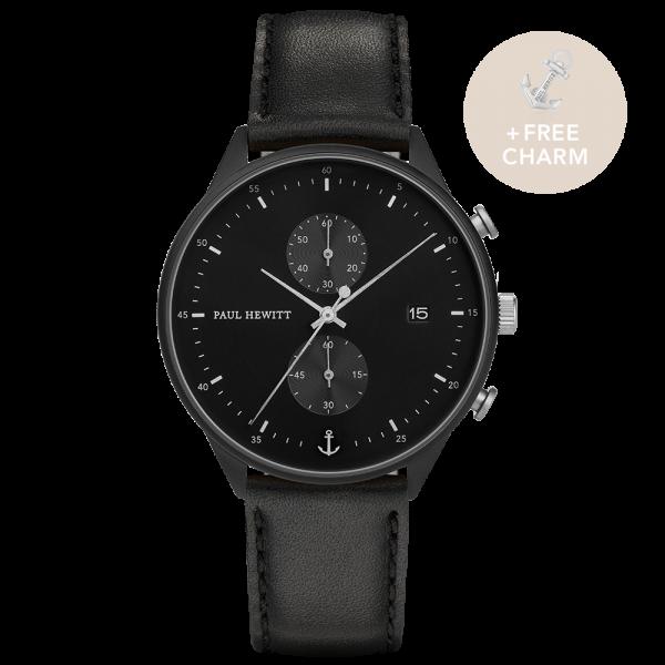 Uhr Chrono Black Sunray Schwarz Silber Leder Schwarz