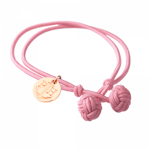 Bracelet Nœud Or Rose Nylon Rose