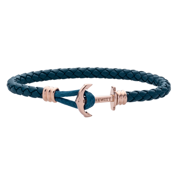 Anchor Bracelet Phrep Lite Rose Gold Leather Petrol