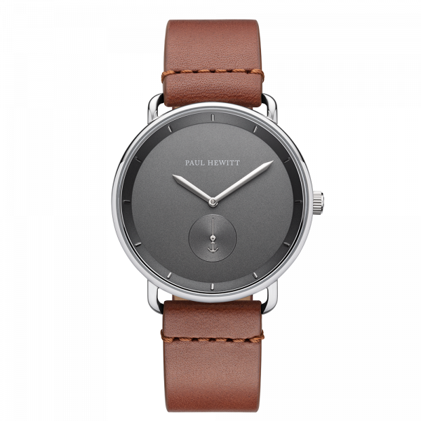 Uhr Breakwater Iron Grey Silber Leder Mid Brown