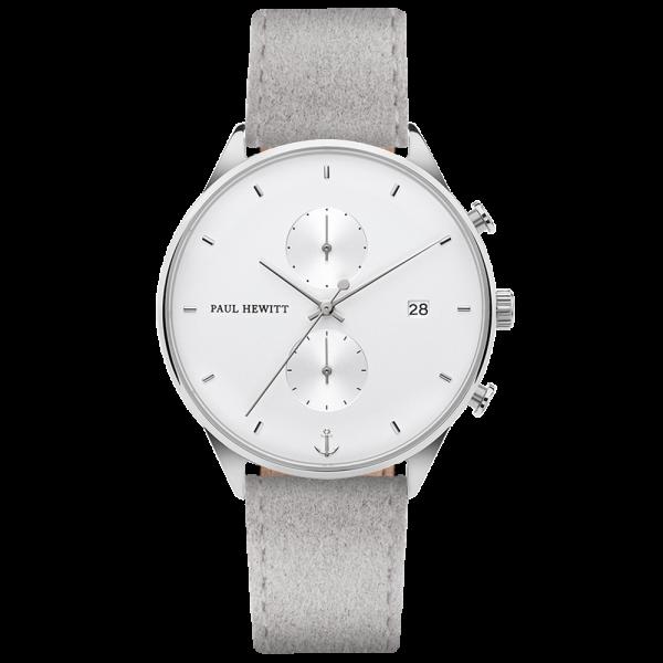 Reloj Chrono White Sand Plateado Alcantara Gris