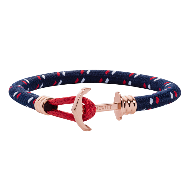 Anchor Bracelet Phrep Lite Rose Gold Nylon Navy Blue Red White