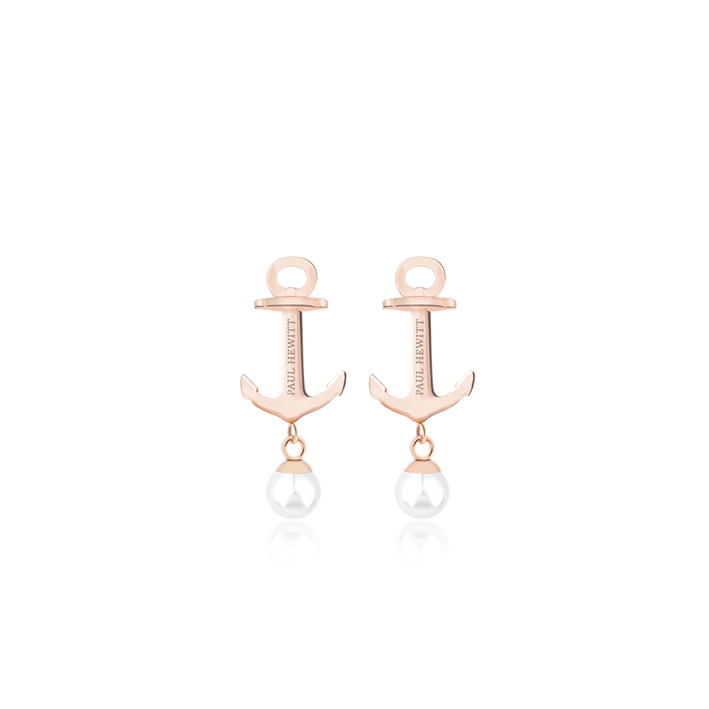 Boucles d'oreilles anchor pearl or rose pearl