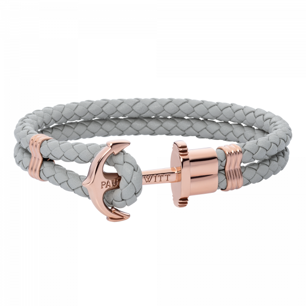 Anchor Bracelet Phrep Rose Gold Leather Grey