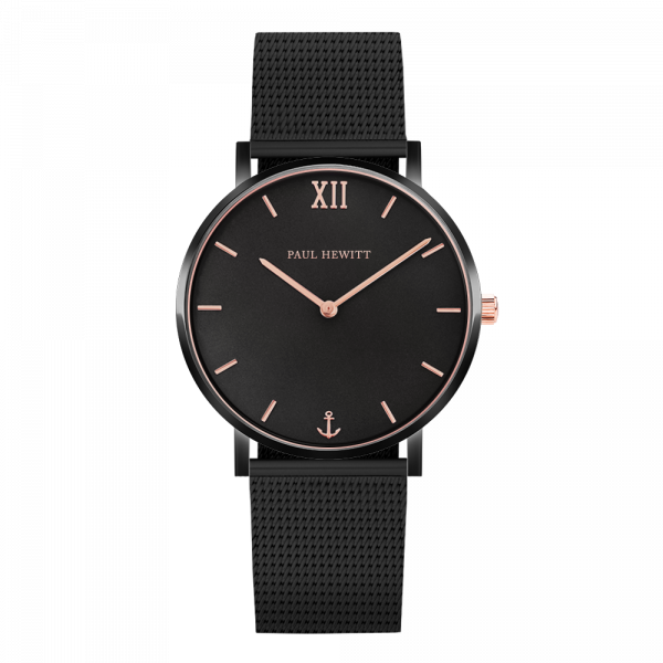 Montre Sailor Black Sunray Noir Or Rose Mesh Noir