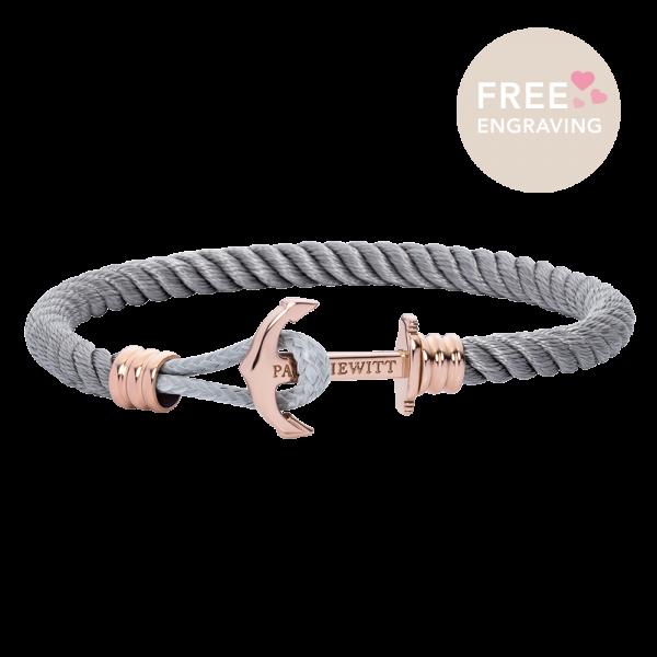 Ankerarmband Phrep Lite Roségold Nylon Grau