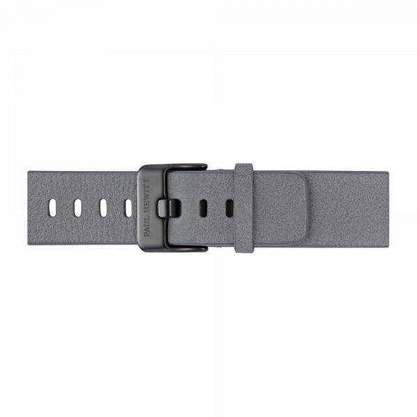 Watch Strap Leather Black Light Grey 20 mm