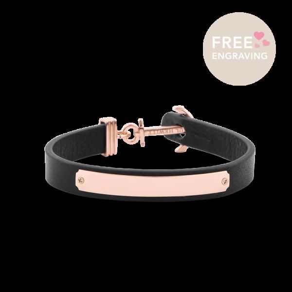 Bracelet Ancre Signum Or Rose Cuir Noir