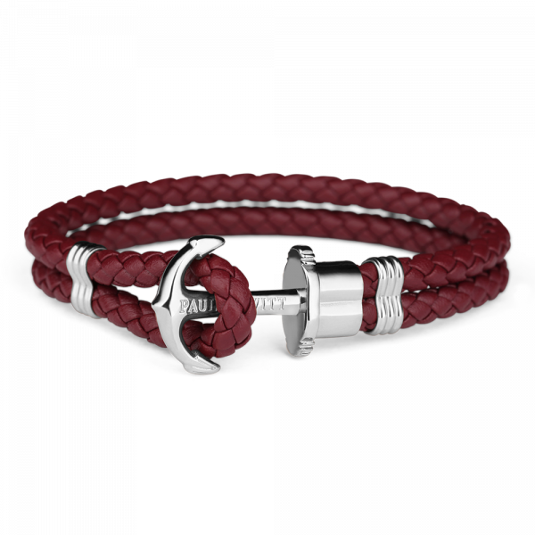 Anchor Bracelet Phrep Silver Leather Dark Berry