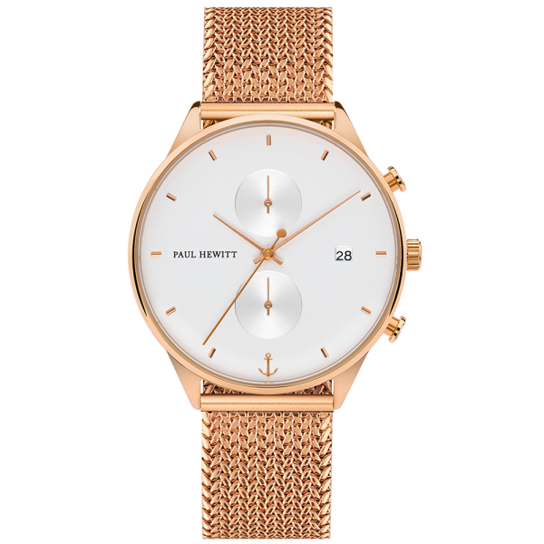 Watch Chrono White Sand Rose Gold Woven Mesh