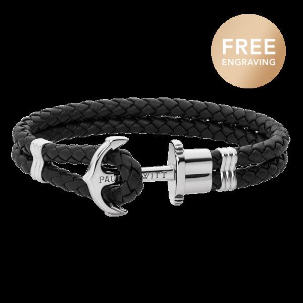 Bracelet Ancre Phrep Argenté Cuir Noir