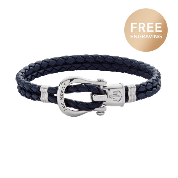 Bracelet Phinity Silver Leather Navy Blue