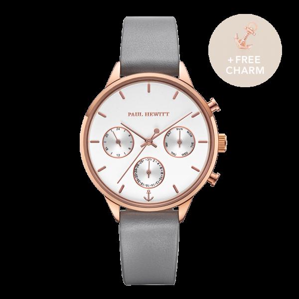 Uhr Everpulse White Sand Roségold Leder Graphite