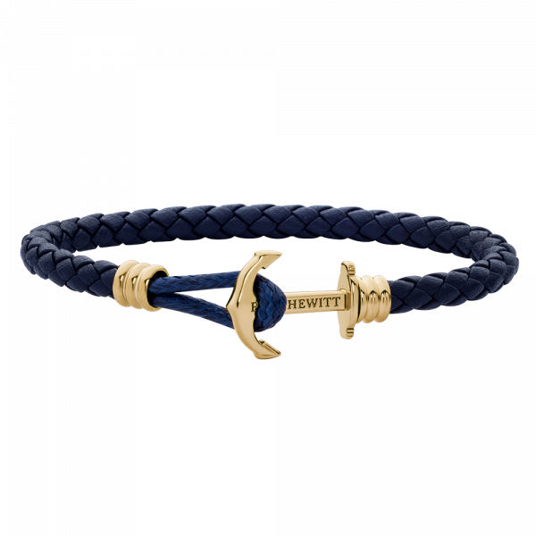 Anchor Bracelet Phrep Lite Gold Leather Navy Blue