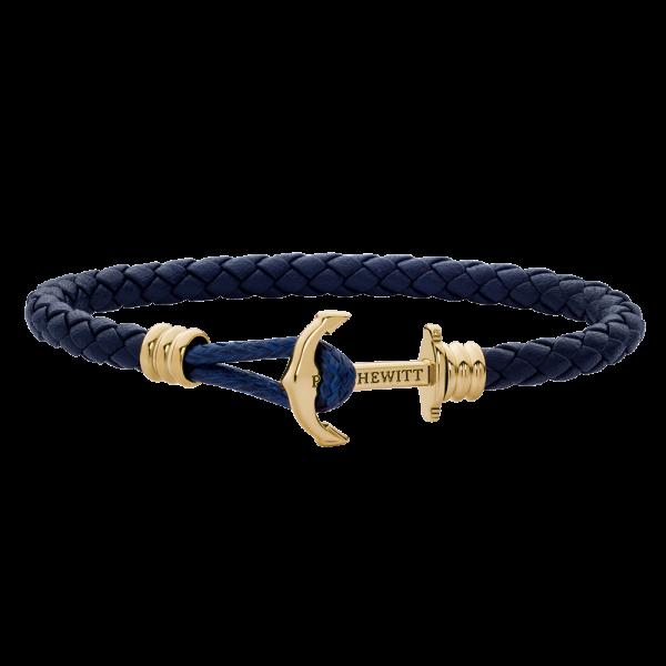 Bracelet Ancre Phrep Lite Or Cuir Bleu Marine