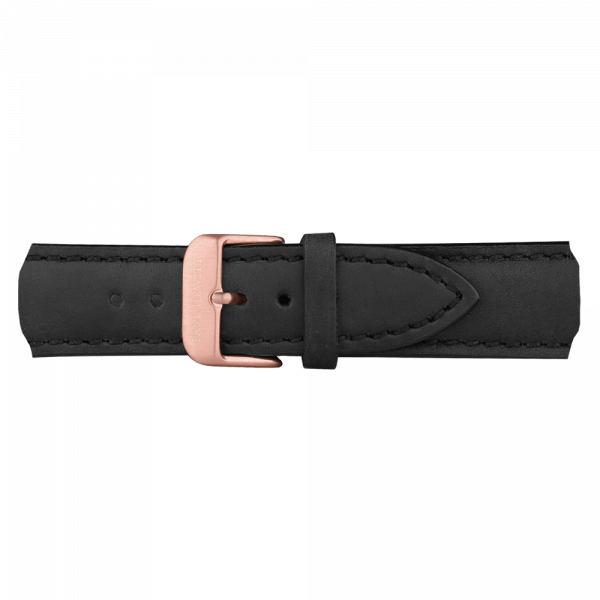 Watch Strap Leather Rose Gold Black 20 mm