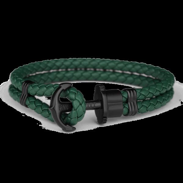 Anchor Bracelet Phrep Black Leather Green