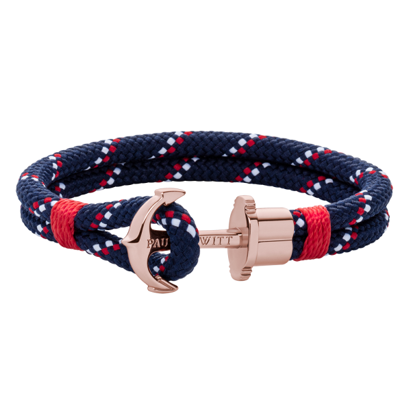 Anchor Bracelet Phrep Rose Gold Nylon Navy Blue Red White